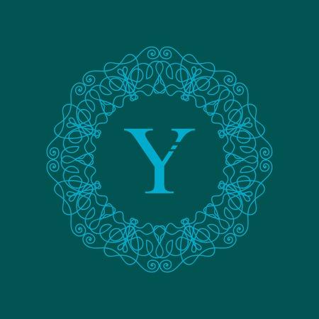 stylish decoration: Simple  Monogram Y Design Template on Green  Background Illustration