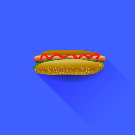 american cuisine: Fresh Hot Dog with Ketchup Isolated on Blue Background