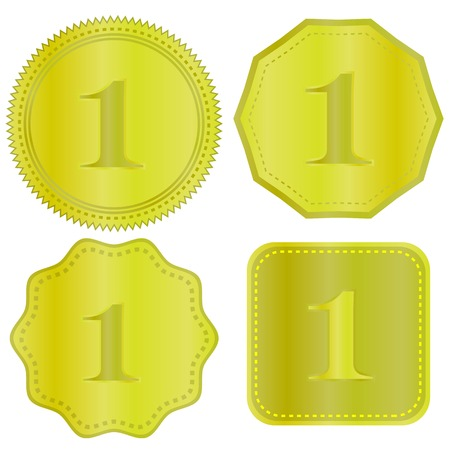 wax glossy: Gold Medal Icons Isolated on White Background