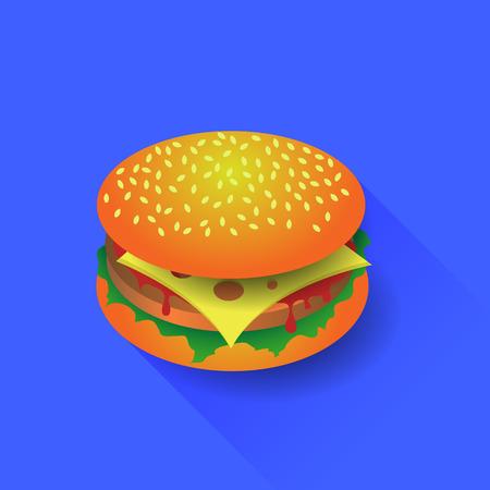 Fresh Hamburger Isolated on Blue Background. Long Shadow