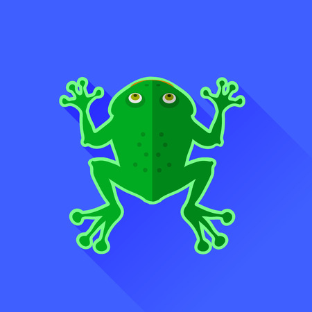 frog jump: Green Frog Icon Isolated on Blue Background Illustration