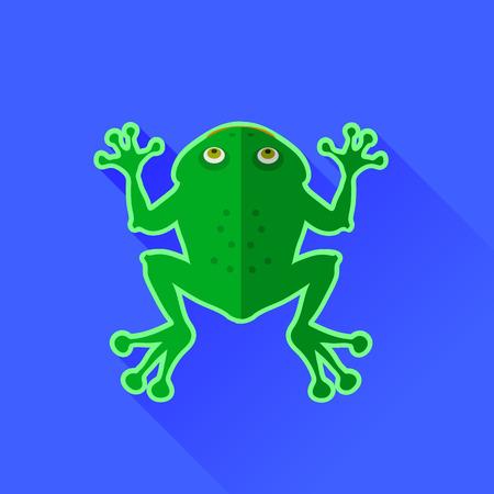 the frog: Icono verde de la rana aislado en el fondo azul