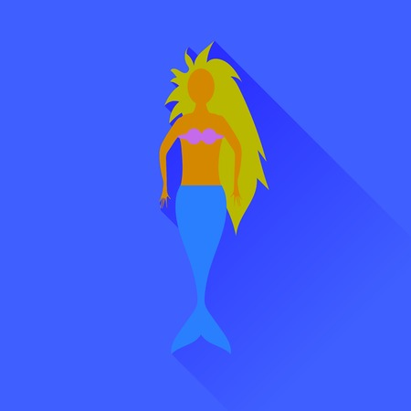 water nymph: Mermaid Icon Isolated on Blue Background. Long Shadow