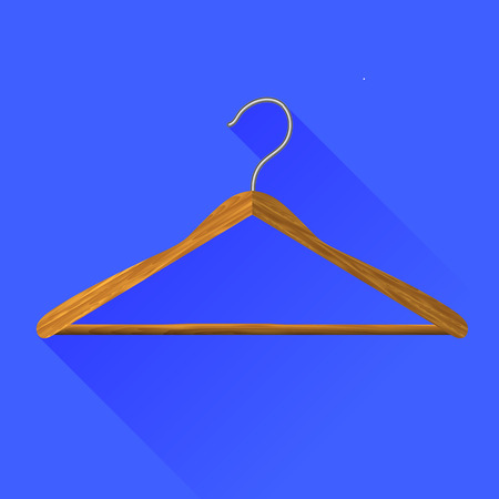 conformity: Coat Hanger Icon Isolated on Blue Background. Long Shadow