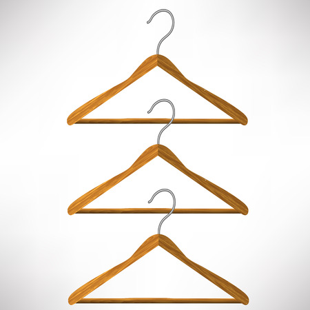 white coat: Set of Wooden Coat Hangers  Isolated on White Background