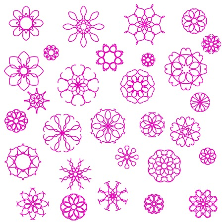 pink flower: Pink Flower Icons Isolated on White Background