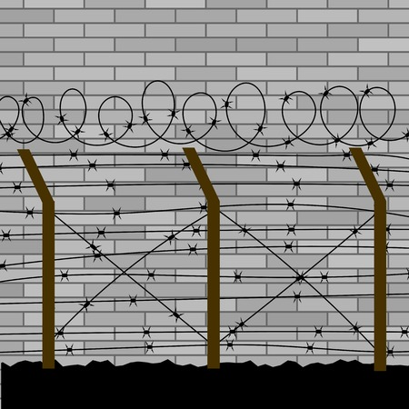 deterrent: Barbed Wire Fence on Grey Brick Wall Background