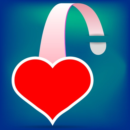 wobbler: Red  Heart Wobbler Icon  on Blue Background