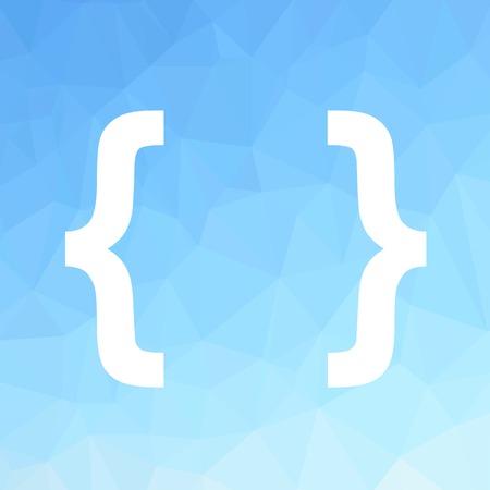 bracket: White Bracket Isolated on Blue Polygonal Background