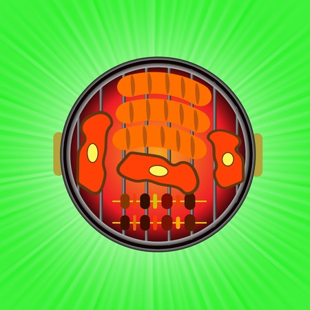 spare ribs: Grill Icon Isolated on Green Wave Background