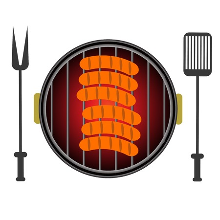 barbecued: Barbecue Grill Icon Isolated on White Background Illustration