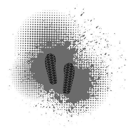 walking trail: Shoes Imprints on Grey Crunge Background. Halftone Background Illustration