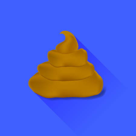 excrement: Excrement Icon Isolated on Blue Background. Long Shadow Illustration