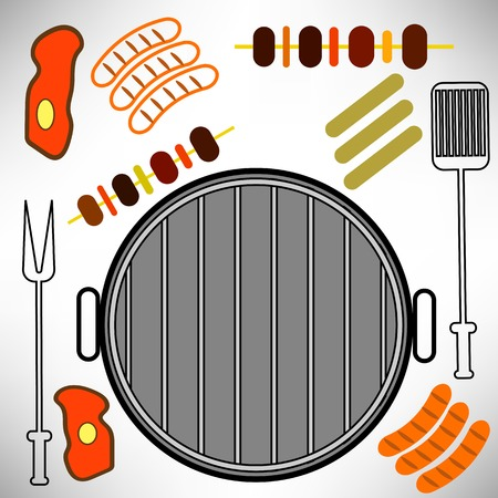 spare ribs: Barbecue Grill Icon Isolated on White Background Illustration