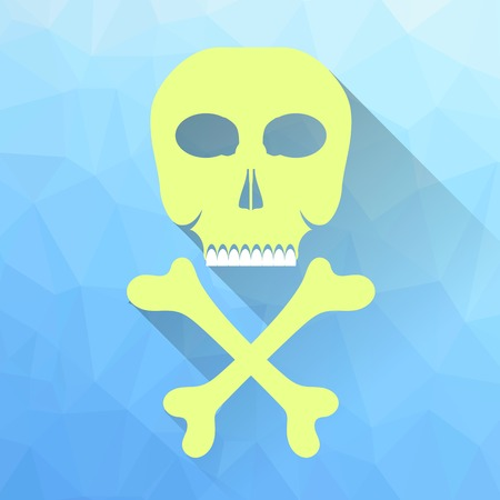crossbones: Skull and Crossbones Icon Isolated on Blue Polygonal Background