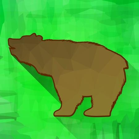 bear silhouette: Orso bruno silhouette isolato su sfondo verde. Long Shadow Vettoriali