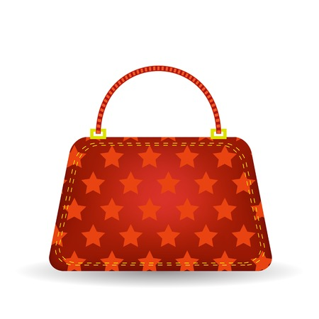 capacious: Single Starry Red Handbag Isolated on White Background.