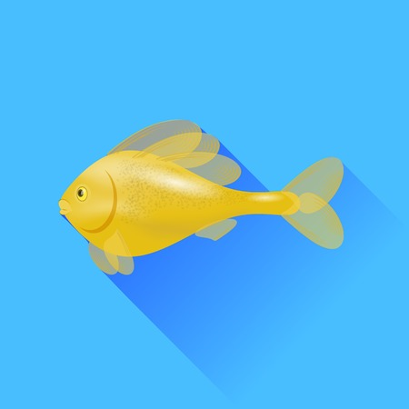 gold fish: Sea Cartoon Gold Fish Isolated on Blue Background.