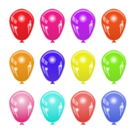 levitation: Set of Colorful Balloons Isolated on White Background. Stock Photo