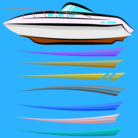 Set of Boat Graphics Isolated on Blue Background Stock Photo