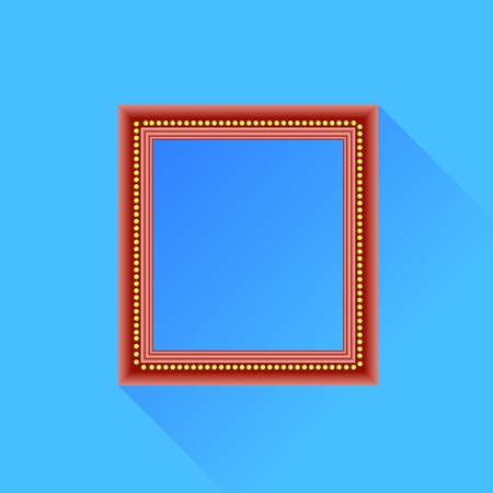 wood frame: Red Wood Frame Isolated on Blue Background.