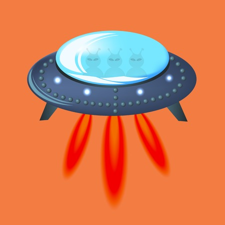 area 51: Spaseship Isolated on Orange Background.  Aircraft and Visitors Flying on Sky.