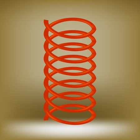 bounce: Metal Red Spring Isolated on Brown Background