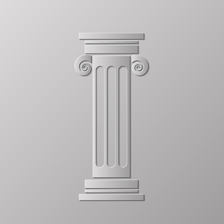 greek column: Old Greek Column Isolated on Grey Background