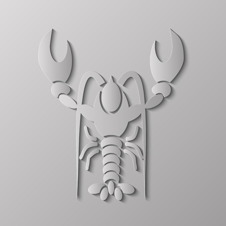 delicacy: Grey Stylized Lobster Isolated on Grey Background