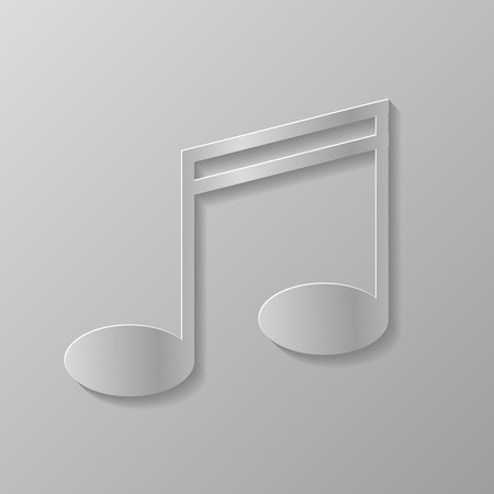 melodious: Grey Music Note Isolated on Grey Background