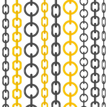 interlink: Set of Different Chains Isolated on White Background