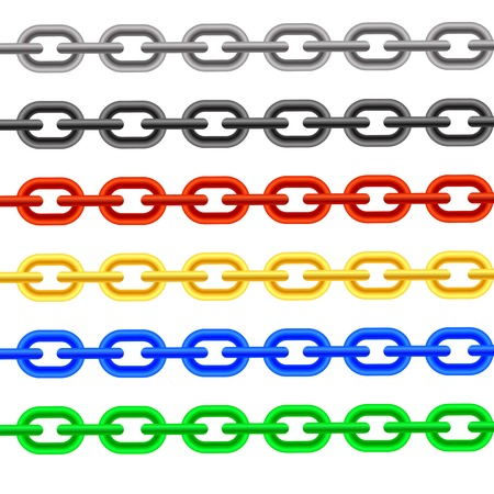 interlink: Set of Colorful Chain Iaolated on White Background