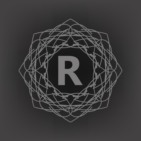 r fine: Simple  Monogram R Design Template on Grey Background Stock Photo