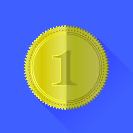 wax glossy: Gold Medal Icon Isolated on Blue Background Stock Photo
