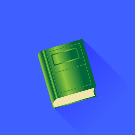 green book: Green Book Isolated on Blue Background. Long Shadow. Stock Photo