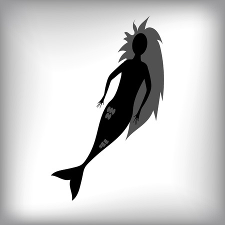 water nymph: Mermaid Silhouette Isolated on Grey Blurred Background