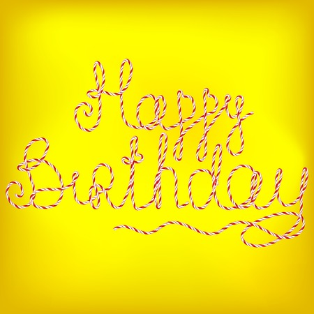 soft background: Happy Birthday Isolated on Yellow Soft Background