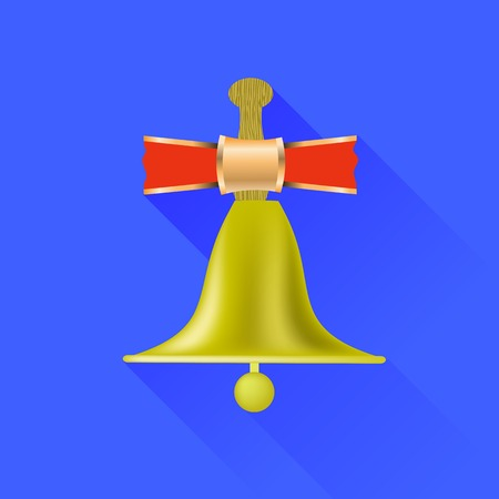 recess: School Bell Icon Isolated on Blue Background