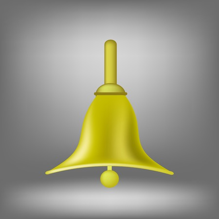 recess: Gold Metal Bell Icon Isolated on Grey Background