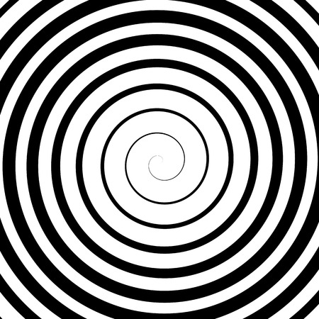 Black Spiral Background. Hypnotic Monochrome Sripal Pattern