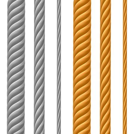 fil de fer: Jeu de câbles métalliques isolé sur fond blanc Illustration