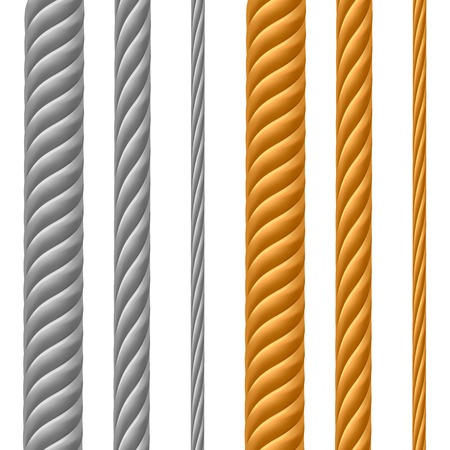 iron and steel: Set of Metal Cables Isolated on White Background