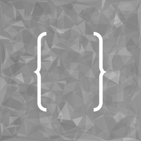 bracket: Curly Bracket Icon Isolated on Grey Polygonal Background Stock Photo