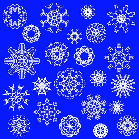 neige noel: Flocons de neige Icônes isolées sur fond bleu Banque d'images