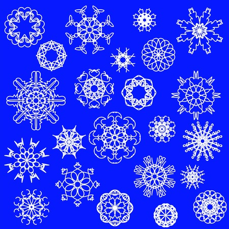 christmas snow: Snow Flakes Icons Isolated on Blue Background
