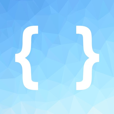 bracket: White Bracket Isolated on Blue Polygonal Background