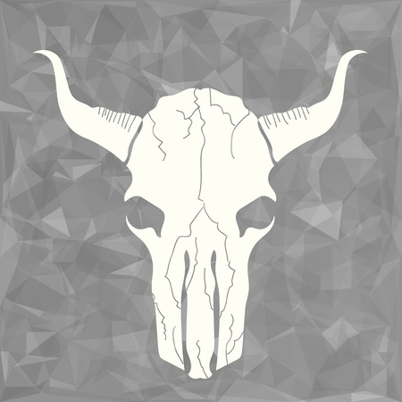 isolated animal: Skull Bull Icon on Grey Polygonal Background Stock Photo