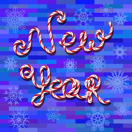 brick background: New Year Text on Blue Brick Background Stock Photo