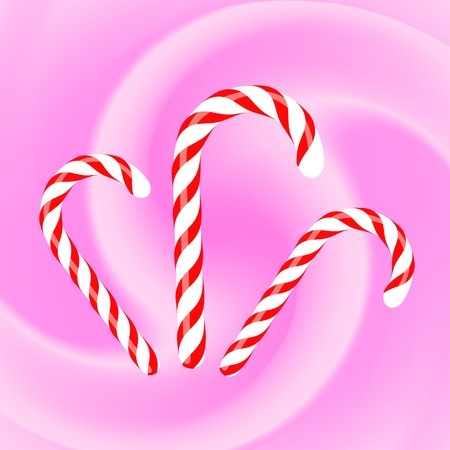 canes: Candy Canes Icons on Pink Wave Background