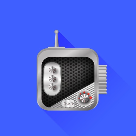 old radio: Old Radio Icon Isolated on Blue Background Stock Photo